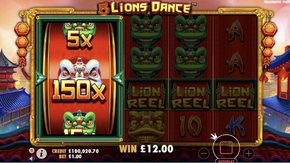 5 lions dance bonus reel