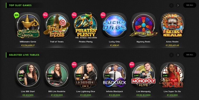 888 casino Canada games