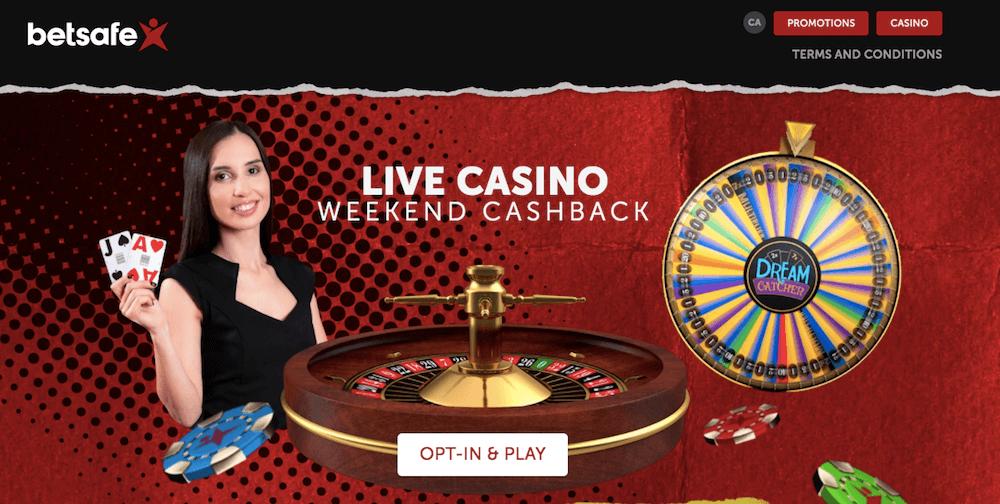 betsafe live casino cashback offer