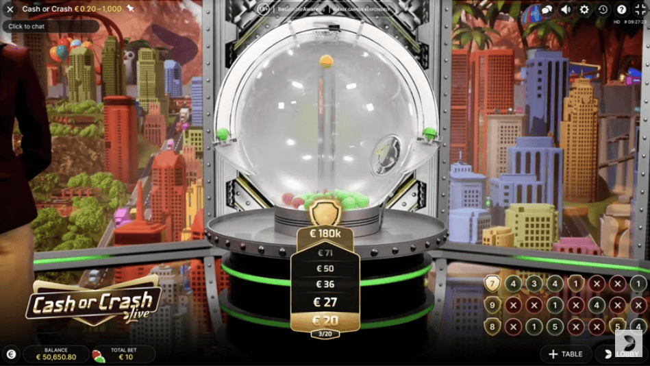 Cash or Crash live game show