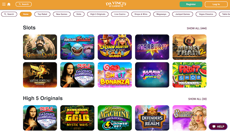 Davincis Casino game library