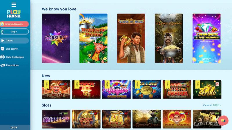 PlayFrank - casino lobby