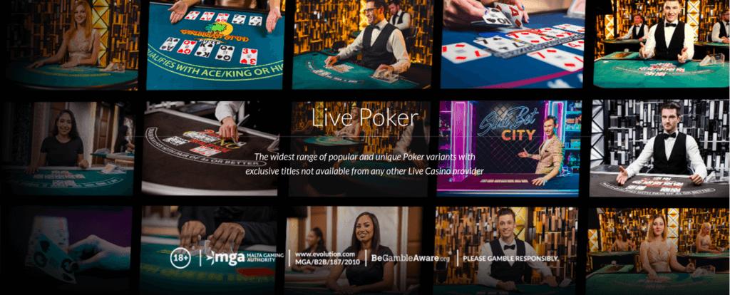 Live Poker tables