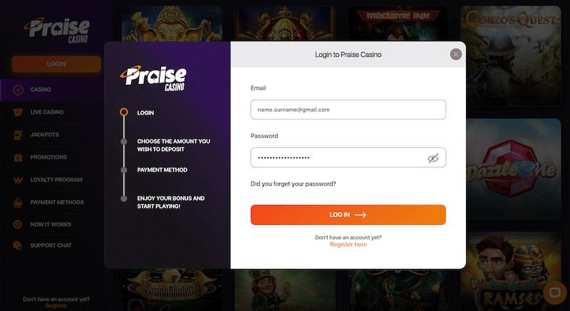 Praise Casino - Register player account