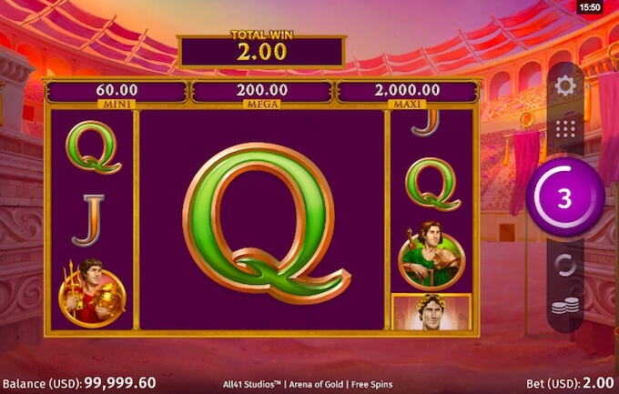 Arena of Gold free spins