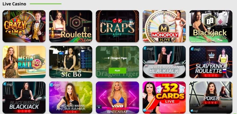 live casino games at Betpat