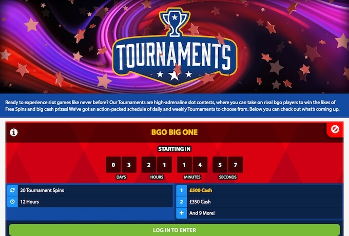 online casino tournaments at bgo casino