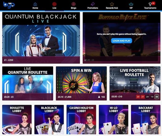 bgo live dealer casino games