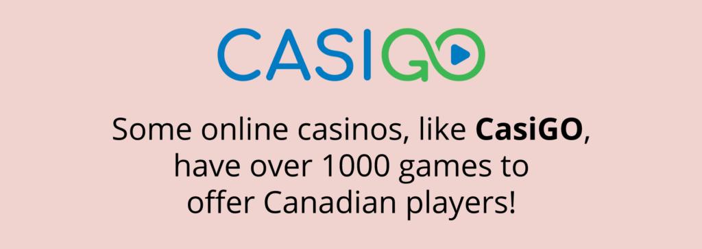 CasiGo Game selection