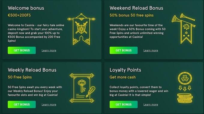 Casinia casino bonus
