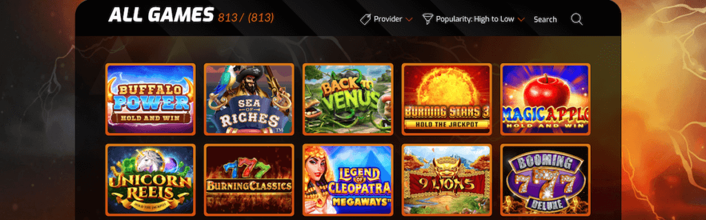 Casinointense Game library