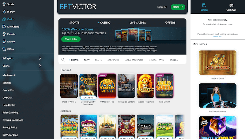 BetVictor Casino games