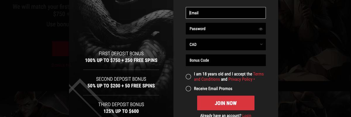 Cobra Casino registration