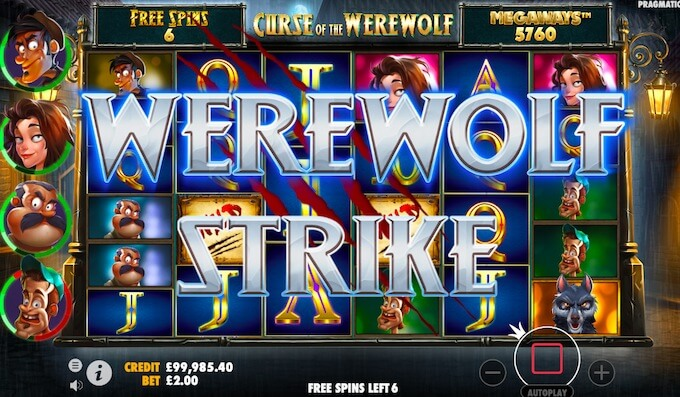 Curse of the werewolf slot free spins