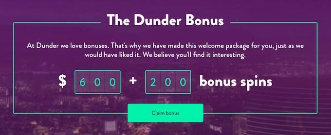 Dunder casino Canada bonus