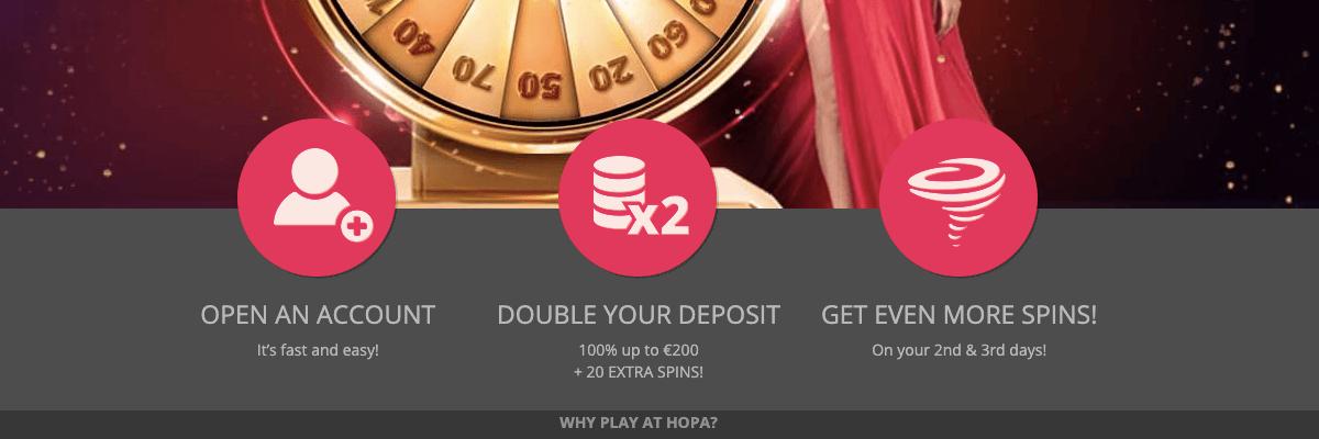 Hopa Casino welcome bonus