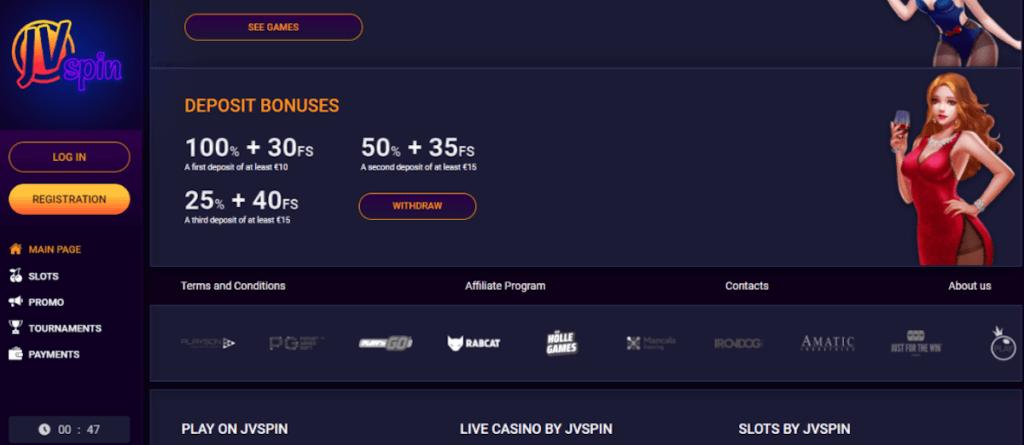 JVSpin deposit bonuses