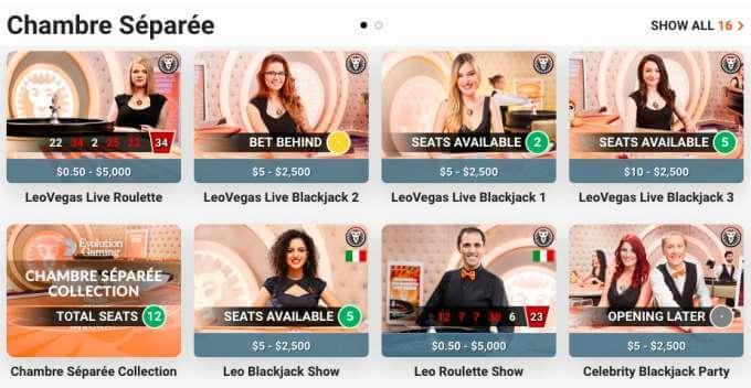 LeoVegas Canada live casino