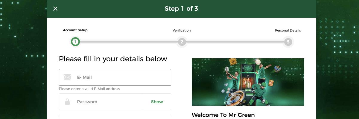 Mr. Green Registration