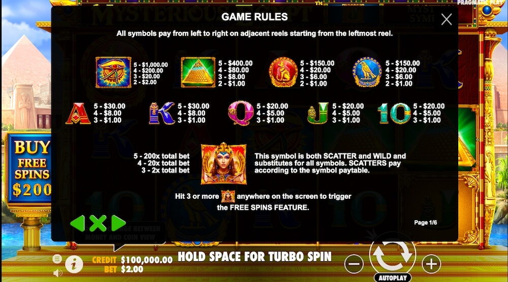 mysterious egypt slot review