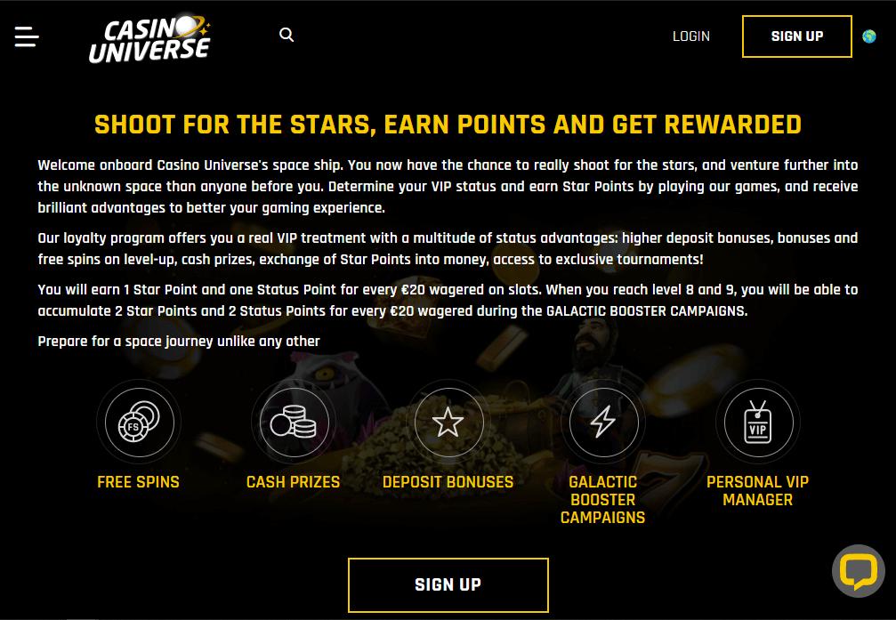 Casino Universe VIP scheme