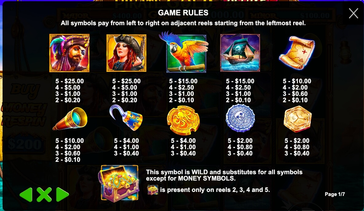 Pirates Gold Deluxe paytable