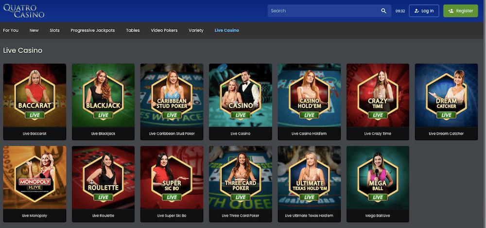 live casino games at Quatro