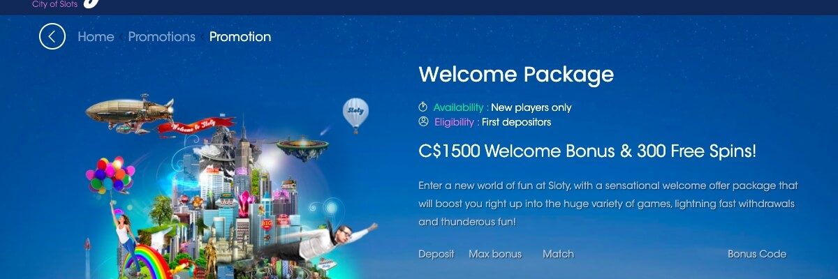 Sloty Casino welcome bonus