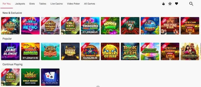 online casino games at spin casino