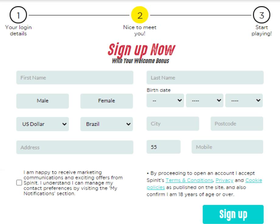 Spinit Casino registration step 2