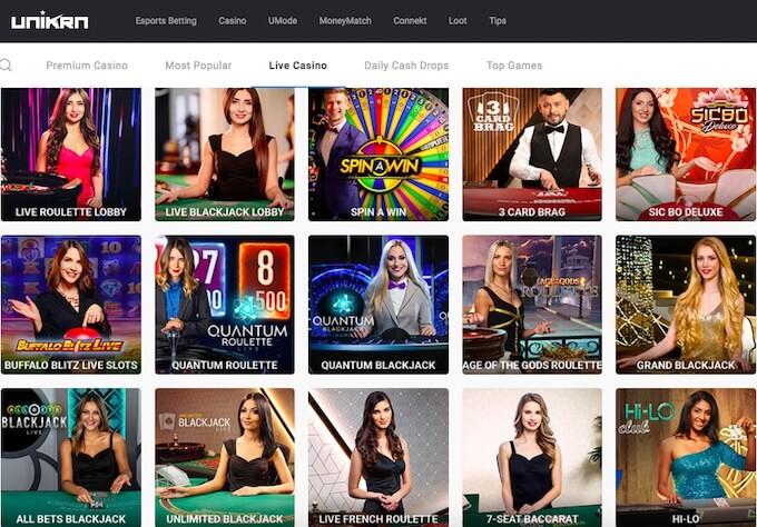 Unikrn live casino