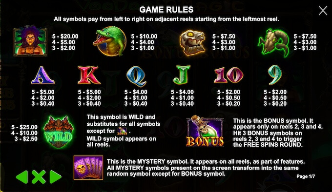 Voodoo Magic slot pay table