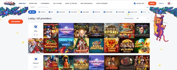 Vulkan Vegas online casino games