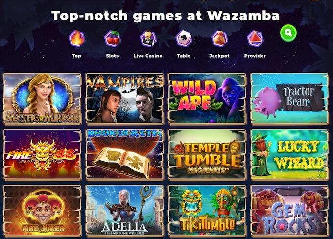 Wazamba online casino games
