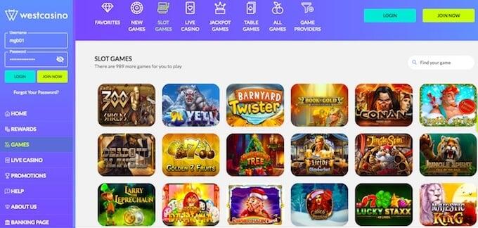 WestCasino games online