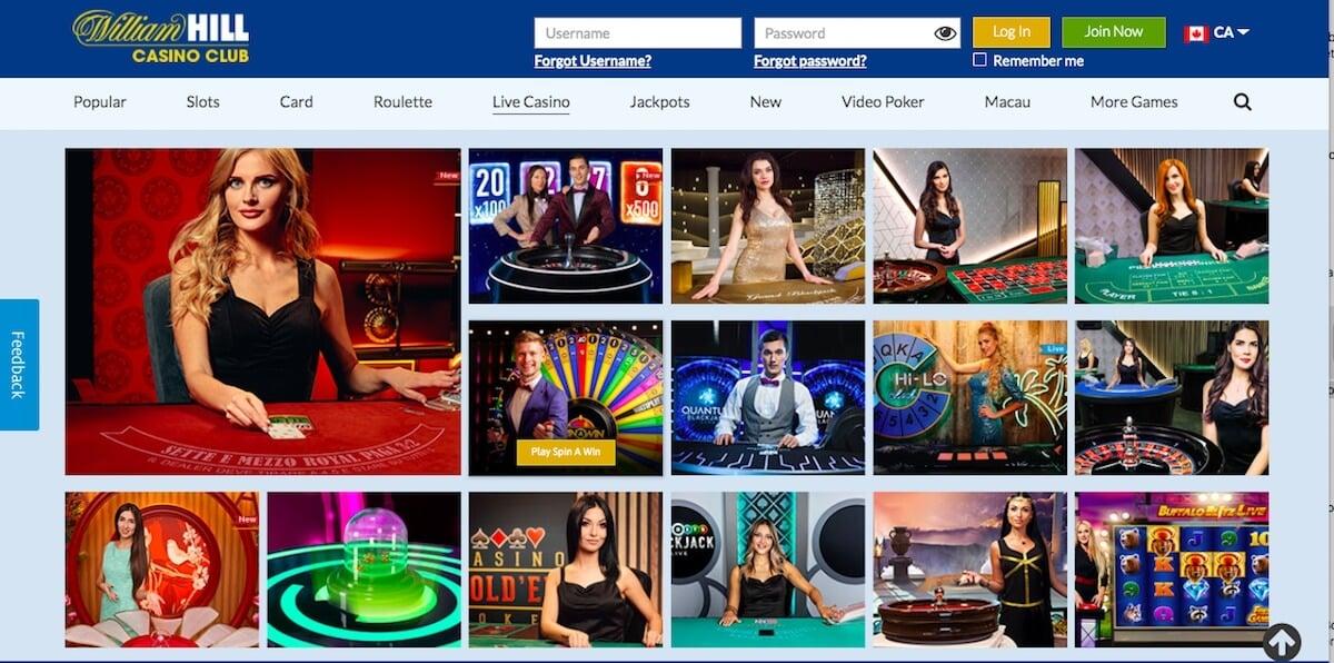 William Hill Live Casino games